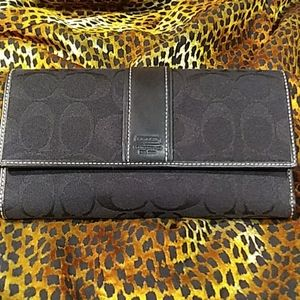 "Coach Leatherware signature checkbook wallet 8""x4"""